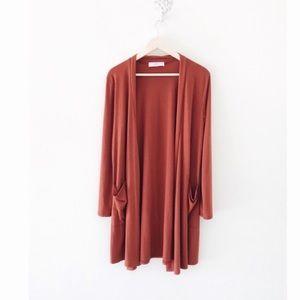 Boutique rust longline cardigan